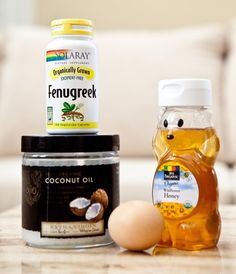Measure 1/2 cup Coconut oil  Add 1/2-3/4 teaspoon of fenugreek seed or powder  Bring to boil until mixture turns brown  Let cool  Add 3-4 tbsp honey to mixture, mix well  Distribute all over hair & scalp; leave in for 1-2 hours. Wrap hair as it will drip  1 hr before washing out mask, whisk 1-2 eggs, distribute all over hair. Leave in 1 hr before washing hair. #healthyhair