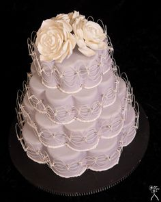 Petal Shaped Wedding Cake Succulent Flowers Top An Oriental Stringwork Inspired Cake This Won 3rd Place In Wedding Beginners At That Takes