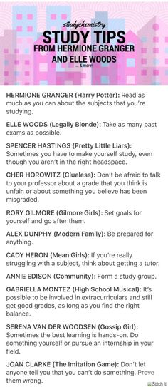 Motivation to study · study tips from hermione granger, elle woods, and more! school study tips, College Life Hacks, School Hacks, Past Exams, School Study Tips, School Tips, College Study Tips, Study Tips For Exams, Mcat Study Tips, Law School