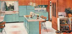 Vintage Home Decor: 1958 General Electric Turquoise Kitchen Interior 1950s