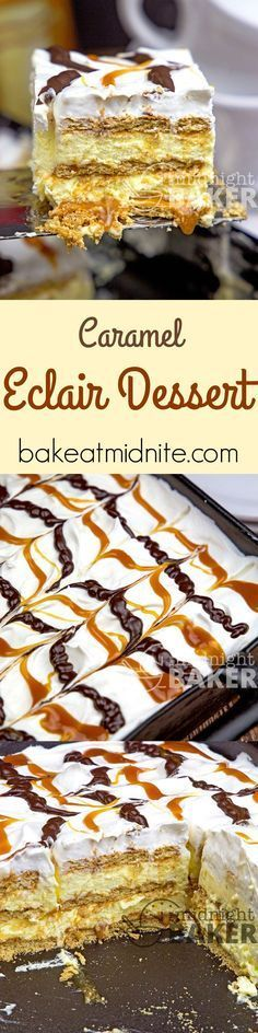 A new twist on an old potluck classic. Spicy cinnamon grahams, gobs of gooey caramel and velvety-smooth cream filling.: