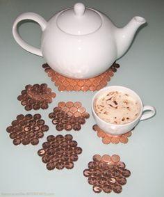 Salvamantel / posavasos con monedas de cobre #DIY