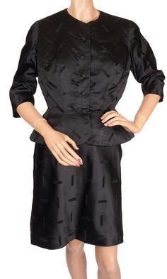 Vintage 1950s Black Silk Suit by Hattie Carnegie - S