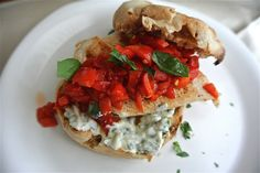 Chicken Sandwich with Yogurt Basil Pesto and Roasted Red Peppers