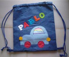 mochila coche patchwork personalizada mochila tejidos,cordón,fieltro patchwork aplicación