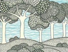 landscape zentangle art & landscape zentangle ` landscape zentangle patterns ` landscape zentangle ideas ` landscape zentangle art ` landscape zentangle colour ` zentangle landscape nature ` zentangle landscape line drawings ` zentangle landscape tree art Zentangle Drawings, Doodles Zentangles, Zentangle Patterns, Doodle Drawings, Doodle Art, Doodle Trees, Tangle Doodle, Zantangle Art, Zen Art