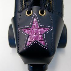 Leather Skate Toe Guards with Purple Gator Stars by derbyvixen, $30.00