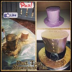 My first attempt at a duct tape steampunk hat.so much fun! #hat #steampunk #diy #creativity #ducttape