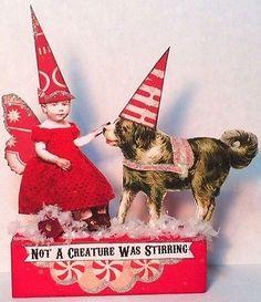 Fairy Dog LOVE Christmas vtg Mixed Media Altered Prim aRt Folk Toy Collage ooak