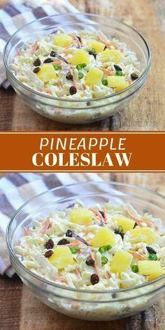 Pineapple Coleslaw is a delicious medley of sweet, creamy and tangy. Juicy pineapples dish bring a tropical twist on a classic side dish! We are want to say thanks if you like to share this post to another people via your . Best Salad Recipes, Fruit Recipes, Summer Recipes, Coleslaw Recipes, Kfc Coleslaw, Recipies, Vegetable Side Dishes, Side Dishes Easy, Side Dish Recipes