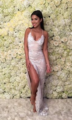 Sexy Sheath Spaghetti Straps Backless High Split Long Prom Dress with Lace, sexy prom dress,pink prom dresses,lace prom dress,party dress