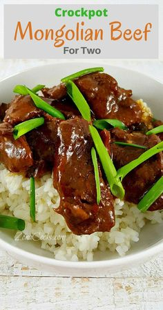 Crockpot Mongolian Beef for Two - This is a quick and easy to prepare slow cooker recipe of Mongolian Beef dinner for two. The beef is incredibly tender and the sauce has an amazing savory and sweet flavor. You can adjust the heat by adding more or less r Crockpot Recipes For Two, Slow Cooker Recipes, Easy Dinner Recipes, Cooking Recipes, Healthy Recipes, Healthy Meals, Crockpot Meals, Cheap Recipes, Microwave Recipes