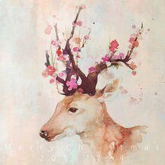 deer flowers in antlers #illustration