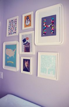 Eclectic, colorful #nursery #gallery wall with prints from @Etsy!