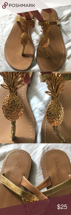 4e3d5123141f Lilly Pulitzer for Target Gold Pineapple Sandals 8 Lilly Pulitzer for Target  Gold Pineapple Sandals 8