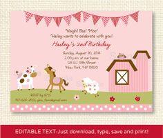 Pink Farm Animal Birthday Invitation by LittlePrintsParties, $10.00