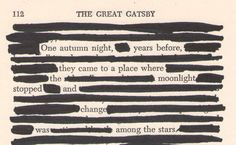 The Great Gatsby -Altered Quotes.  I love doing this with magazine ads too. Plus, you can rip those out.