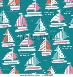 Cute sail boat pattern. Seamless pattern. Marine seamless pattern. Kid nautical illustration. Vector illustration