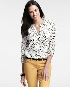 Dot Print Top is oh so nice. Great with a pair of trouser jeans or pencil skirt.