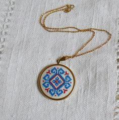 hand embroidered necklace via skrynka on etsy