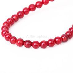 4mm natürlich Rot Rund Koralle Edelstein Perle Strang Kette Beaded Necklace, Ebay, Jewelry, Rhinestones, Circuit, Necklaces, Red, Beaded Collar, Jewlery