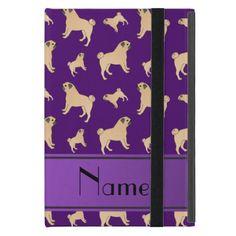 Personalized name purple Pug dogs iPad Mini Cover