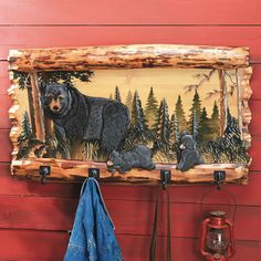 Bear Family Wood- We actually found a large picture exactly like this without the hooks..for over our fireplace mantle..just love it!