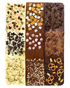 Easy Candy Recipes...Basic Bark:  Movie Theater Bark - Cherry and Orange Peel Bark - S'mores Bark -   Peppermint Bark - Lime and Macadamia Nut Bark -   Pistachio, Dried Cranberry, and Toasted-Coconut Bark - Cookies-and-Cream Bark - Crackly Two-Tone Bark - Chocolate-Almond Wood-Grain Bark
