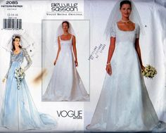Vogue 2085 Bridal Dress and Jacket Sewing Pattern, Bellville Sassoon, Misses Sizes 12, 14, 16, Uncut Pattern Includes Vogue Bridal Guide by OnceUponAnHeirloom on Etsy
