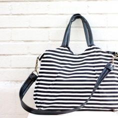 Make this stripe-y, pocket heavy tote to use as a diaper bag (or a purse! or a weekender!).