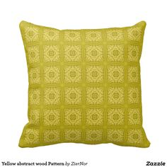Yellow abstract wood Pattern Pillow