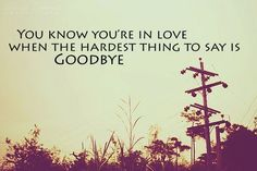 You know you're in love when the hardest thing to say is goodbye.
