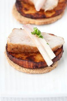 Fried Pork with sweet potato on toast