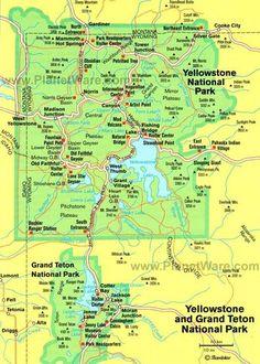 Yellowstone and Grand Teton National Parks 2 day car tour routes. Yellowstone Map, Yellowstone Nationalpark, Yellowstone Vacation, Yellowstone Attractions, Wyoming Vacation, National Parks Map, Grand Teton National Park, Jackson Hole, Rocky Mountains