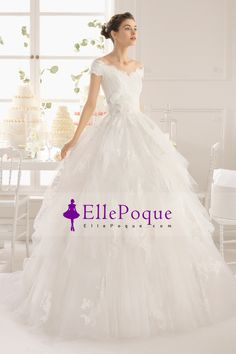 2015 V Neck Off The Shoulder Ball Gown Wedding Dress With Applique