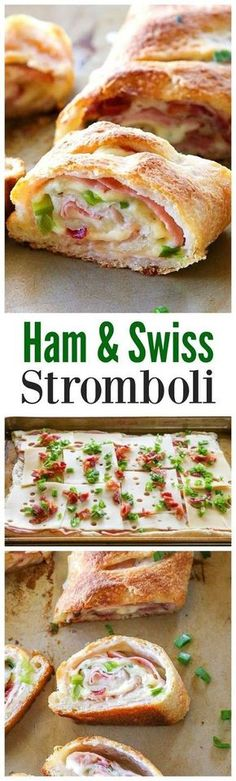 This five ingredient Ham and Swiss Stromboli is filled with ham, Swiss cheese, bacon and green onions. The combo of flavors is delicious. This is a dinner I make when we have a busy schedule because it's so easy. #ham #swissfood #stromboli #easyrecipes