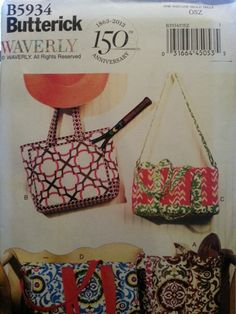 Butterick Pattern B5934 Four lined Bags with inside pocket