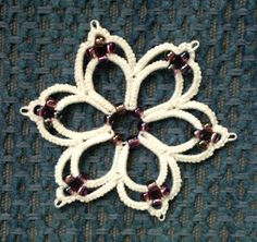 Tatted with seed beads.  Free pattern.