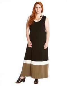Karen Kane Plus Size Fashion Black White and Khaki Stripe  Contrast Maxi Tank Dress   Lord and Taylor #Karen_Kane #Plus_Size #Fashion #KarenKane #Lord_and_Taylor
