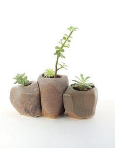Succulent Rock Trio Planters. $150.00, via Etsy.