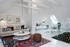modern - gloss - white wood - red rug