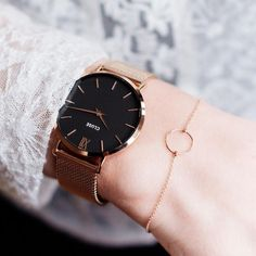 CLUSE Minuit Mesh Rose Gold/Black CL30016