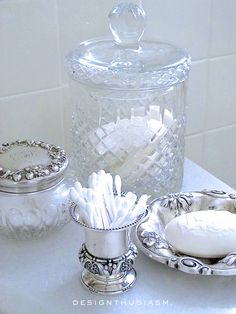 Beautiful containers for utilitarian items in the bath. Love it!