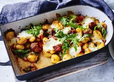 Use homemade or shop-bought gnocchi in this quick and easy bake – the texture works amazingly with the sausage and mozzarella