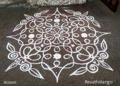 Rangoli 11 to 1 straight dots.: Rev's chikku kolam by revathiilango Indian Rangoli Designs, Rangoli Designs Flower, Rangoli Border Designs, Rangoli Designs With Dots, Rangoli With Dots, Beautiful Rangoli Designs, Simple Rangoli, Free Hand Rangoli Design, Small Rangoli Design