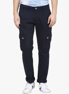 Buy Yepme Navy Blue Solid Cargos for Men Online India, Best Prices, Reviews…