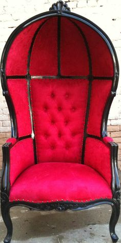 Black & Red Porters Chair Domed Queen King Throne Bubble Hooded Egg Hollywood Regency Rockstar accent Home Decor