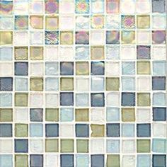 "Oceanside Glasstile...Collection Name: Tessera...Color Name: Puget Sound...Components: Clear Irid, Equator Irid, ...Components:  Fleet Blue Irid, Oxygen Irid...Item Description: 1 x 1 Field...Square Feet Per Sheet: .96...Sheet Size: 11 3/4"" x 11 3/4""...Thickness: .24""...Sample Item Number: 5090"