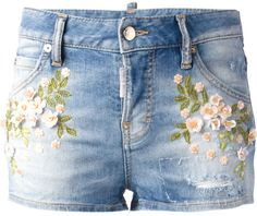 Dsquared2 Denim Embroidered Shorts SS-2014