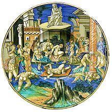 Urbino, Francesco Xanto Avelli, piatto con inondazione del Tevere, 1531, Castello Sforzesco